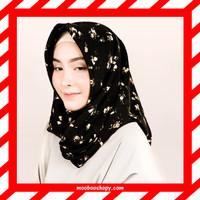 Almeira Hijab Jilbab Square Segi Empat Wolfis Bold Floral Bunga Hitam