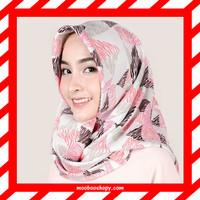 Almeira Hijab Jilbab Segi Empat Square Wolfis Segitiga Pink