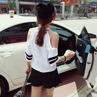 Jual baju atasan kaos sabrina fashion wanita korea kemeja ripped Murah