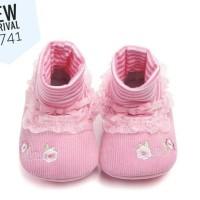 PW73 - prewalker pink bunga renda kaos kaki cewek sepatu bayi shoes