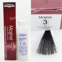 Loreal Majirel Hair Color Dark Brown No.3 (Cat 50ml + Oxydant 75ml)