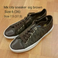 Michael kors city sneaker sig brown sepatu asli original bag authentic