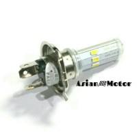 Lampu Depan Motor Led H4 6 Mata Dengan Titik Melingkar Putih/ 7 Warna