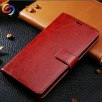 Casing HP Cover Leather Case Samsung J2 Prime Flip Brown