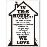Poster Quotes In this House Rumah Frame A4 Dekorasi Dinding Keluarga