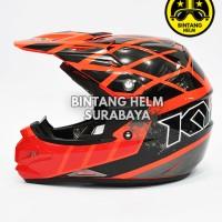 Harga helm kyt cross over net red fluo | antitipu.com