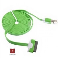 Taffware Flat Noodle Charging SYNC Data USB Cable for Smartphone 30pin