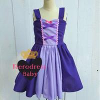 Dress Rapunzel Ungu Tua Tanpa Tutu Dress Princess Disney Anak