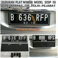 TATAKAN / DUDUKAN PLAT NOMOR MOBIL. MODEL SISIP. TIPE TNI, POLRI