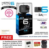 GoPro Hero6 Black (Resmi) + SanDisk Extreme 32gb + Case + Screen Guard