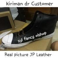 Sepatu converse hi top leather black jack purcell burnt 100% original