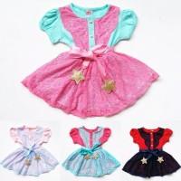 Dress Kaos Brokat Anak Bayi Perempuan Renda Ikat Pinggang Pita Bintang