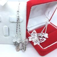 Jual Anting Panjang Tassel Jurai Lapis Perak 925 Silver Kupu Kupu 3D BE080 Murah