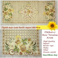 Taplak Meja Tamu Bordir / Minimalis / Shabby / Verania Krem  40x90cm