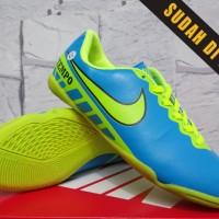 ready stok Sepatu Futsal Anak-Nike Tiempo ACC Biru Hijau Anak ori