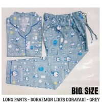 Jual Piyama BIG SIZE Doraemon Dorayaki Grey Long Pants Murah