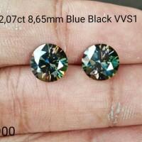 harga Diamond Moissanite 2,07ct 8,65mm Blue Black Vvs1 Tokopedia.com