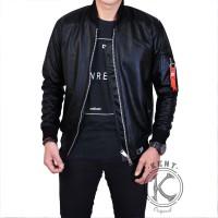 Jual jaket branded ori semi kulit pria bomber hitam brown black bandung Murah