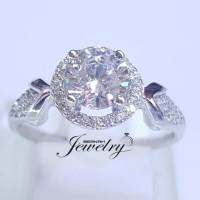 Cincin Perak 925 Batu Diamond Swarovski Mirip Berlian Asli Wanita.
