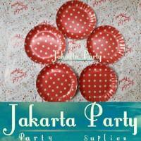 Piring Kue Merah polkadot / Paper Plate 13Cm / Piring Kertas / Piring