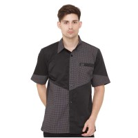 Kemeja / Shirt Kasual Hitam Kom Pria - MEC 473