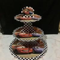 Tier Cupcake Stand 3 Tingkat Motif Gambar Karakter Tema Cars