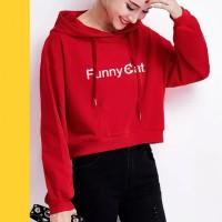 DELLA PRINT Sweater Crop Hoodie Fashion Basic Wanita Okechuku