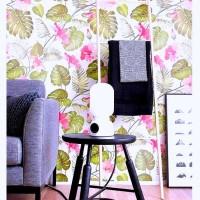 Wallpaper Sticker 10 meter Floral Bunga Pink Daun Gelombang Cinta