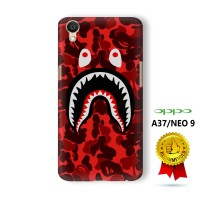 OPPO A37 / Neo 9 Casing Custom Hard Case 3D Bape Shark Camo Red