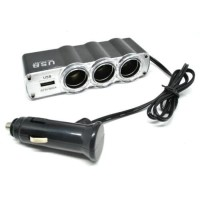 Best Quality Car Charger Cigarette Lighter Splitter 3 Socket with USB