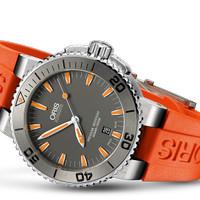 Oris Aquis Date 733 7653 4158 Orange Rubber Strap