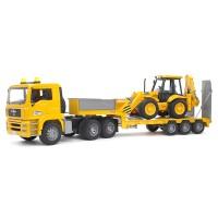 Bruder Toys 2776 MAN TGA Low loader Truck with JCB 4CX Backhoe Loader