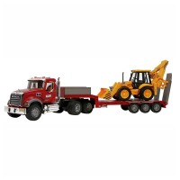Bruder 2813 - MACK Granite Low loader and JCB 4CX - Mainan Anak