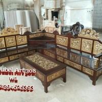 Kursi Sudut Mahkota Ukir (furniture, sofa, nakas, rak, Meja, nakas)