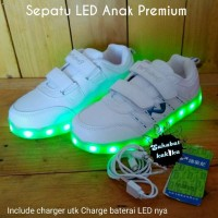 Sepatu LED Anak Putih Kualitas Premium / LED Shoes / Sneakers Anak