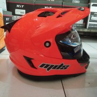 HELM MDS SUPERMOTO RED FLUO/ORANGE STABILLO