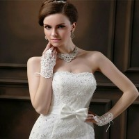 Bride Gloves Wedding Bridal aksesoris Sarung Tangan PENGANTIN KRISTAL