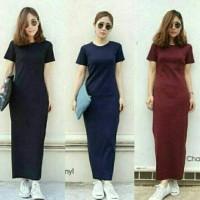 Dress Maxi Plain Kekinian Model Fashion Baju Panjang Wanita