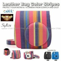Fujifilm Leather Bag polaroid Instax Mini 8 & 9 Tas Color Stripes Case