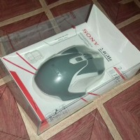 "Mouse wireless SONY optical mouse 2,4GHz ""abu abu list putih"