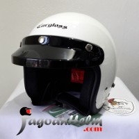 CARGLOSS Helm CF RETRO| Super Whity White | Half Face CARGLOS ARMY