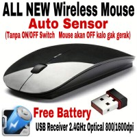 WIRELESS MOUSE APPLE 2.4GHz FOR MACBOOK LAPTOP NOTEBOOK BLACK