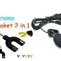 Mini Mic/Microphone Untuk PC/hp bonus Spliter Audio Putih