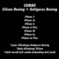 COMBO Anti Gores Clear Bening + Soft Case Silicon Clear Bening iPhone
