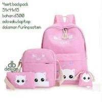 Grosir Tas Ransel Anak Sekolah SD Laki Perempuan 4in1 Cat Murah Pink