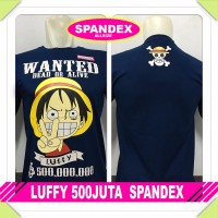 Hot Sale KAOS BAJU DISTRO ANIME ONEPIECE LUFFY 500JUTA SPANDEX