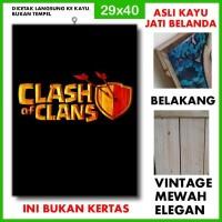 Poster Clash of Clans 2 COC02 Kayu Vintage Asli Dinding Rumah/kafe
