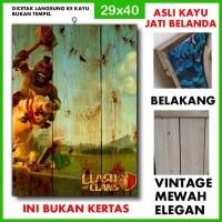 Poster Clash of Clans 3 COC03 Kayu Vintage Asli Dinding Rumah/kafe
