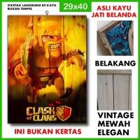 Poster Clash of Clans 1 COC01 Kayu Vintage Asli Dinding Rumah/kafe