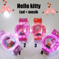 Jam tangan anak perempuan LED + music Hello kitty
